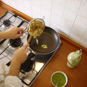 Artichokes in frying pan
