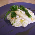 Brie and asparagus risotto
