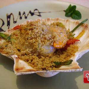 Gratin de Saint-Jacques aux légumes cuits