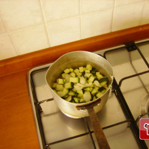 Courgette in a saucepan
