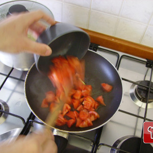 Tomatoes in a frying pan
