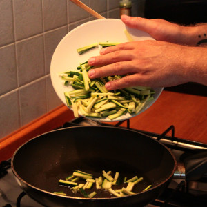 Courgettes in a frying pan