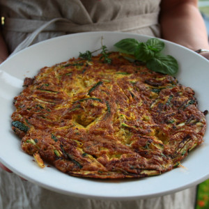 Italian omelette with courgette and herbs