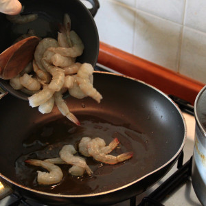 Prawns in the pan