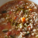 Minestrone vegetable soup with spelt