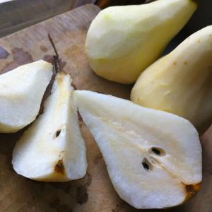 Cut the pears