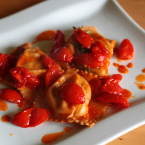 Ravioli stuffed with sea bass and potatoes