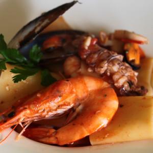 Paccheri pasta with seafood sauce
