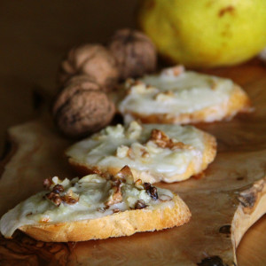 Warm pear, walnut and gorgonzola cheese bruschetta