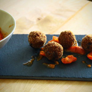 Spicy meatballs with cherry tomatoes
