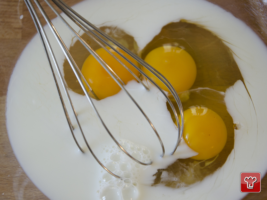 Beat the eggs with the milk