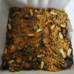 Make a layer of the breadcrumb mixture