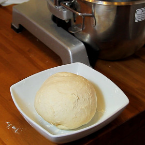 Pizza base with starter dough
