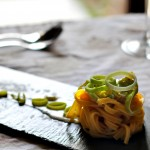 Egg pasta with leek and gorgonzola sauce