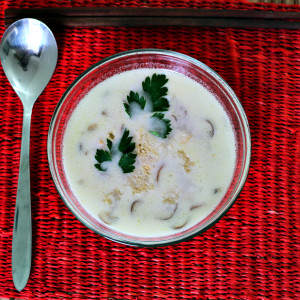 Coconut milk and mushroom soup