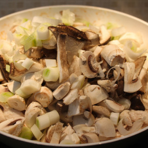 Spring onions and mushrooms