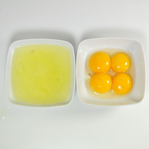 Egg yolks and egg whites