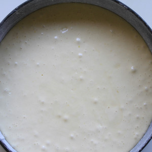 Cake mixture into the cake tin